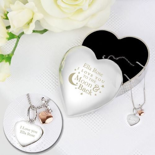 Personalised Moon and Back Heart Trinket Box & Silver Heart Pendant Gift Set